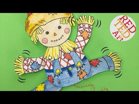 Scarecrow Paper Puppet Printable - Harvest Festival Activities Kids