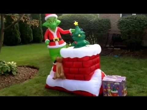 gemmy airblown inflatable grinch animated christmas blow up decoration - Christmas Blow Up Decorations Outside