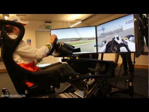 F1 Driver Nico Hulkenberg testing the Vesaro Simulator at Codemasters HQ