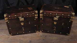 Leather Luggage Trunks Side Coffee Tables