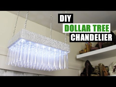 DIY DOLLAR TREE BLING CHANDELIER Dollar Store DIY Glam Chandelier DIY Glam Home Decor