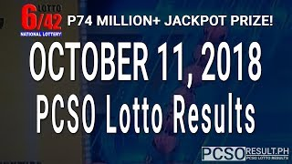 PCSO Lotto Results Today October 11, 2018 (6/49, 6/42, 6D, Swertres, STL & EZ2)