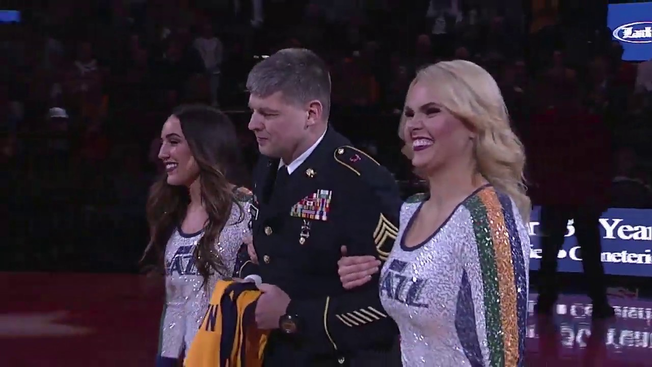 Between the first and second quarter of the Utah Jazz and the Denver Nuggets NBA game at Vivint Smart Home Arena in Salt Lake City, the Utah Jazz, in partnership with Larkin Mortuary, took a moment to recognize a local hero and member the Utah National Guard, Sgt. 1st Class Steven Sandberg, Feb. 5, 2020.  Video courtesy of Utah Jazz and Larry H. Miller Sports & Entertainment.
