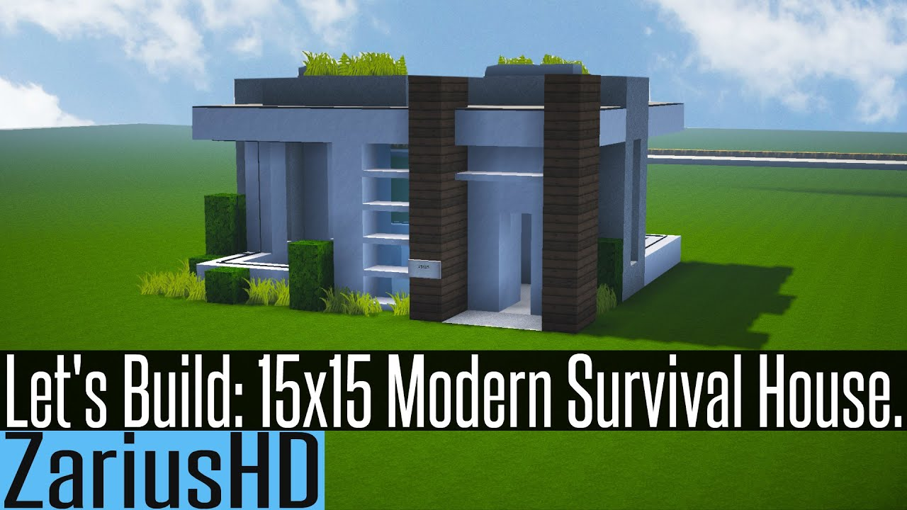 Minecraft let 39 s build 15 x 15 modern survival house for Modern house 6 part 2
