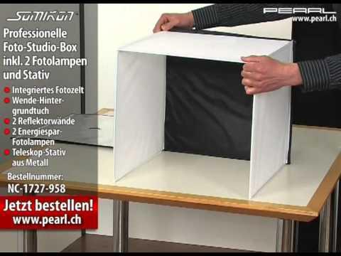 somikon professionelle foto studio box inkl 2 fotolampen und stativ youtube. Black Bedroom Furniture Sets. Home Design Ideas