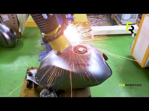 Motorbike fuel tank - weld seam leveling with AAK by FerRobotics