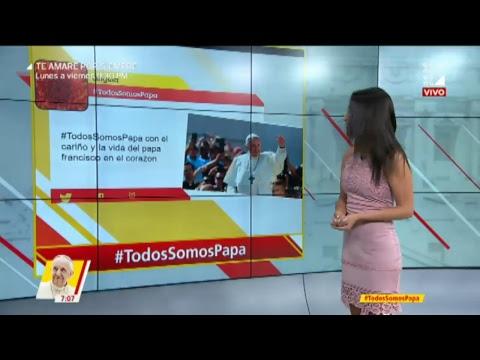 Papa Francisco llegó al Perú y el presidente Pedro Pablo Kuczynski lo recibe en el Grupo Aéreo N°8