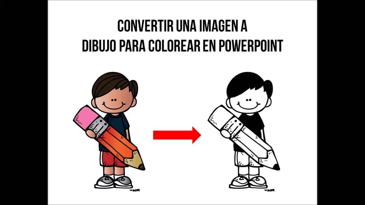 FACIL! CONVERTIR UNA IMAGEN A DIBUJO PARA COLOREAR EN POWERPOINT ...