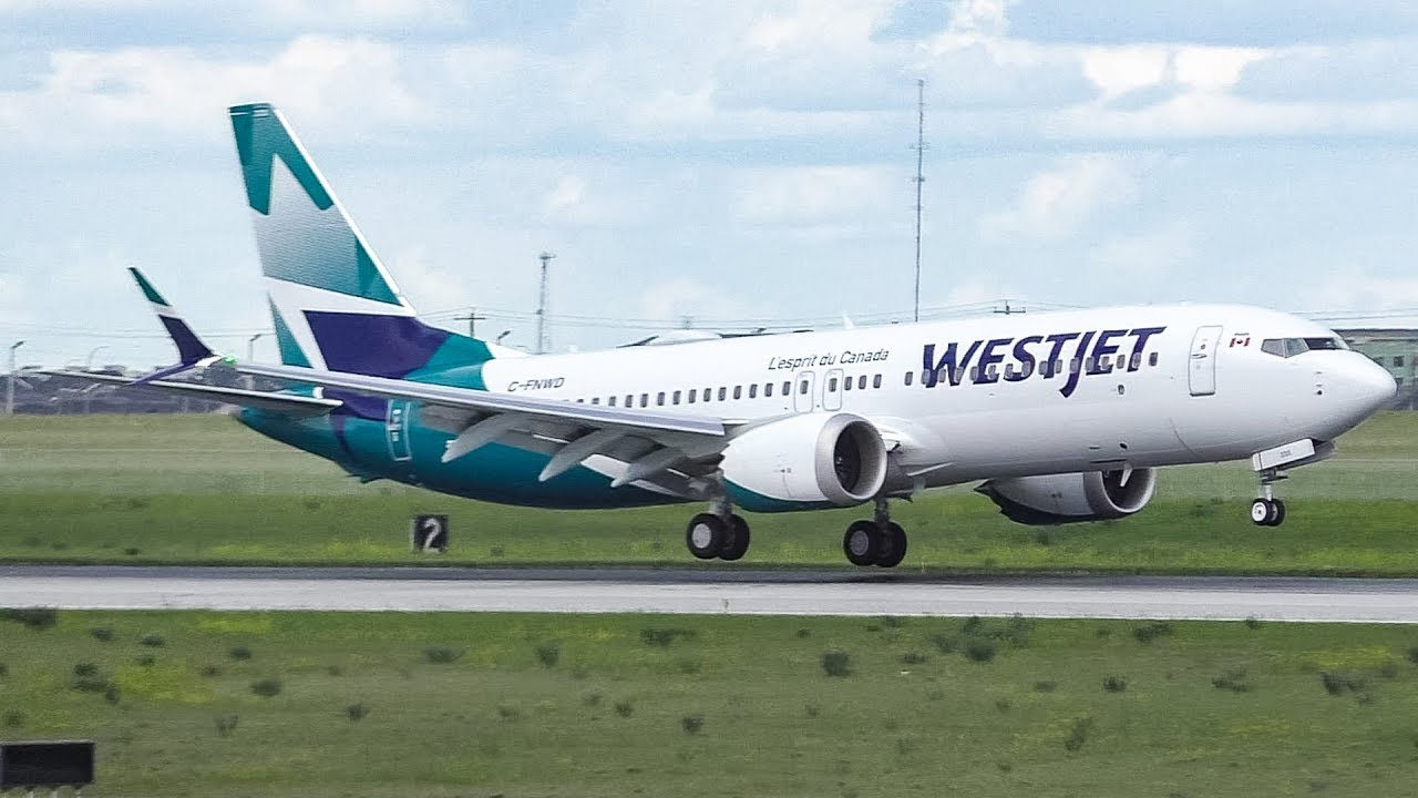 WestJet NEW LIVERY Boeing 737 MAX 8 First Ever Landing at Calgary Airport