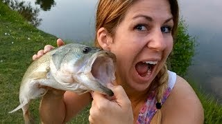 🐟 How to Catch a Bass with a Topwater Popper | Addie gets a Big Bass Surprise!