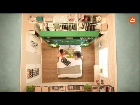 Espacios peque os dormitorio de 13 m2 youtube for Salas para espacios pequenos