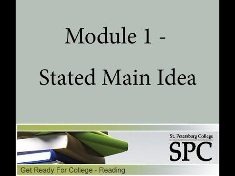 Module 1 - Stated Main Idea