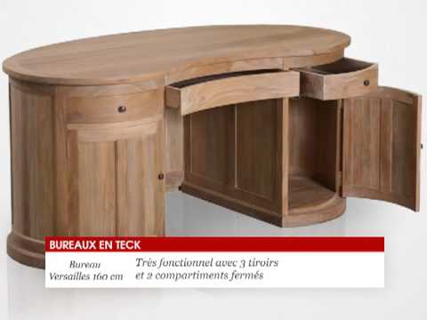 bureau en bois teck massif 160x70x75cm versailles tek import youtube. Black Bedroom Furniture Sets. Home Design Ideas