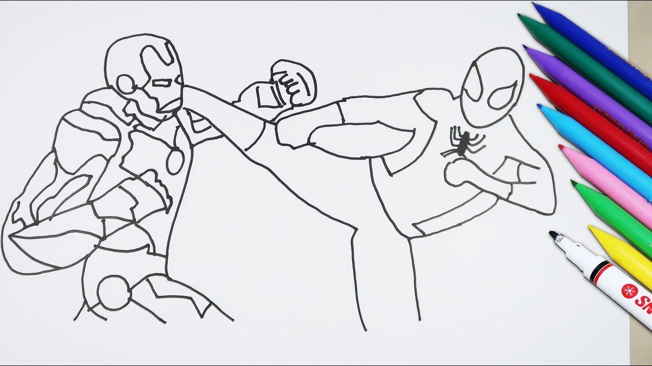 Cara Menggambar Dan Mewarnai Iron Man Vs Spiderman   Coloring ...