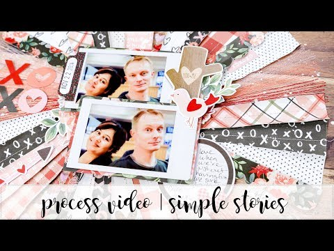 scrapbooking process video | 12x12 layout | simple stories | kissing booth | xoxo