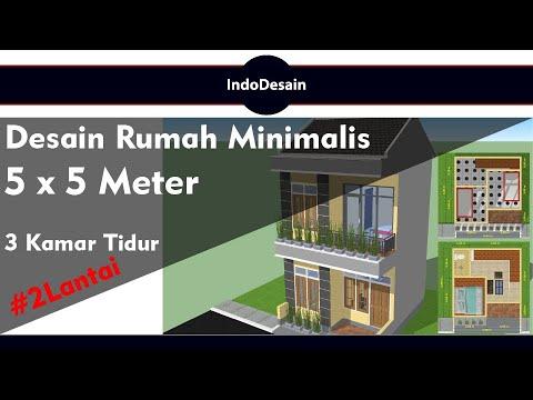 Desain Rumah Minimalis 5x5 Meter | 3 Kamar tidur | 2 ...