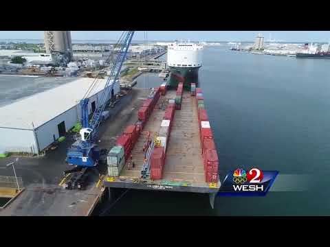 Power poles shipped to Puerto Rico from Port Canaveral