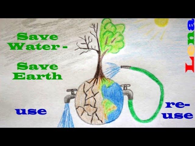 Erde malen ???? Baum zeichnen ???? Erde schützen ???? How to draw Earth ???? Save Water drawing ???? ???????? ?????
