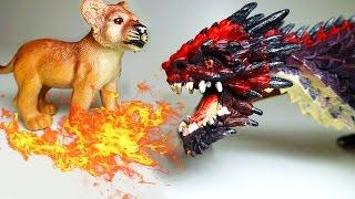 Приключения Животных. Львёнок против Огнедышащих Драконов. Мультик Животные для детей. Игрушки ТВ.