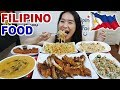 FILIPINO FOOD! Crispy Pata, Sisig, Lechon Kawali, Pancit Canton & Kare Kare   Eating Show Mukbang