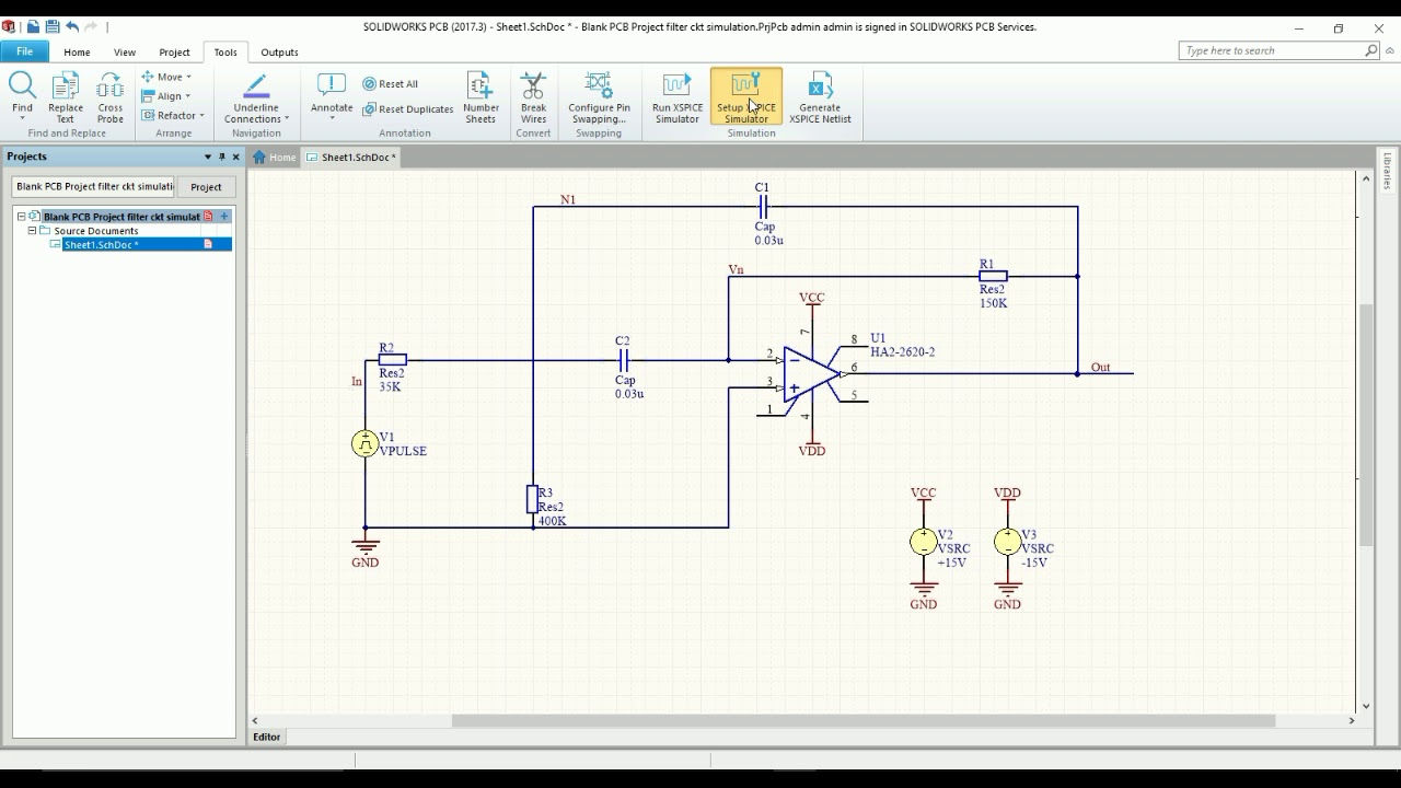 x-spice simulation for circuit analysis in solidworks pcb