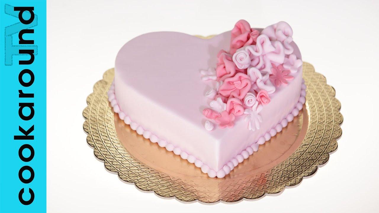 Ben noto Torta a cuore / Pasta di zucchero - YouTube YA59