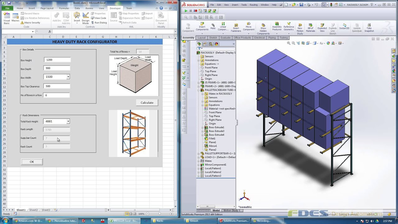 heavy duty industrial rack automation using solidworks
