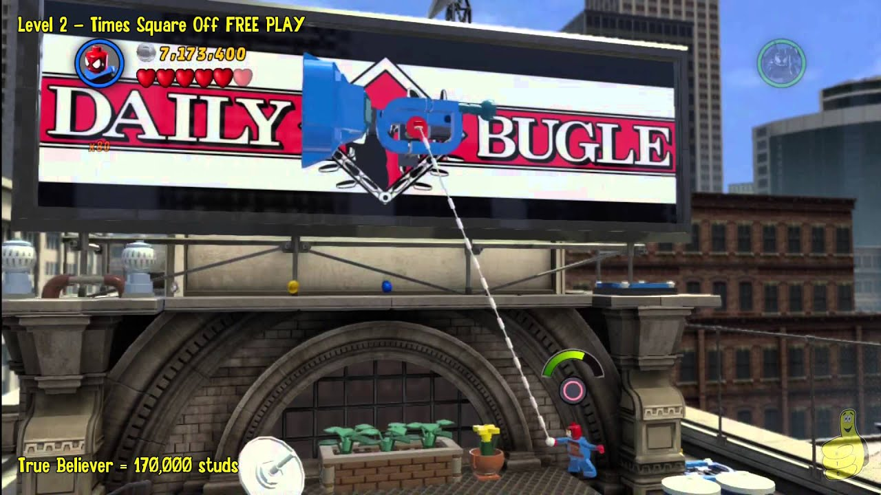 Lego Marvel Super Heroes Level 2 Times Square Off Free Play All Minikits Stan In Peril Htg Youtube