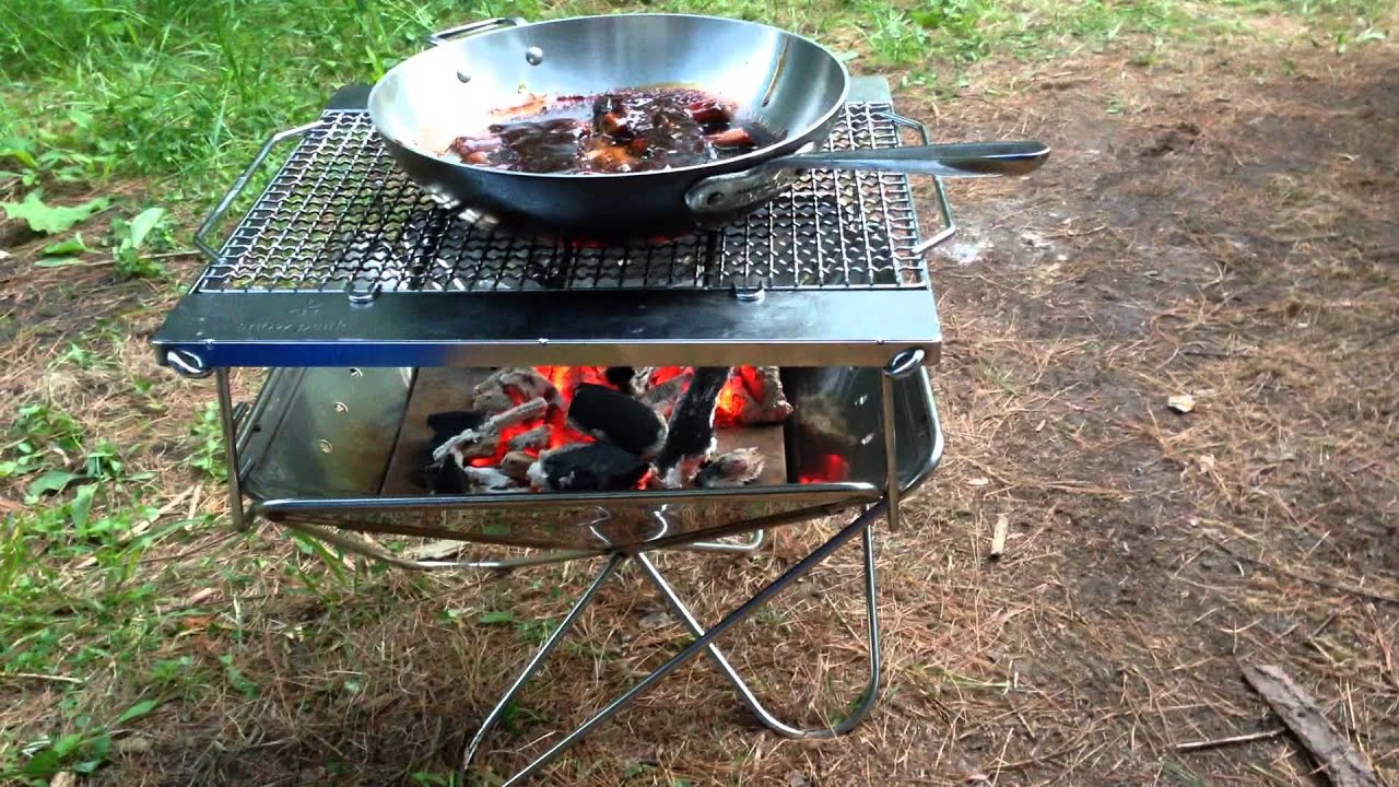 Snow Peak collapsible Fire Pit cooking - Snow Peak Collapsible Fire Pit Cooking - YouTube