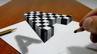 Floating Chess Letter A   3D Trick Art on Paper