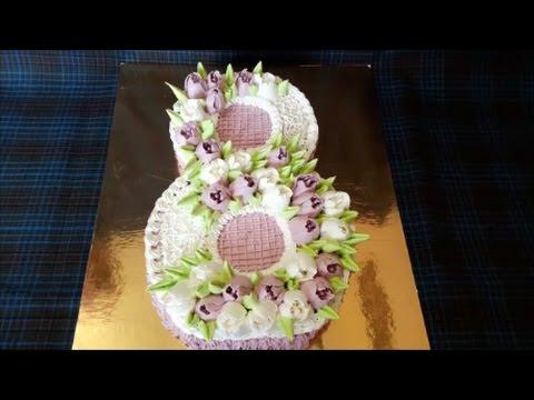 Торт на 8 МАРТА Оформление тортов Украшение тортов кремом Cake decoration