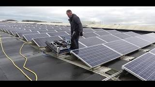 SolarCleano Mini robot cleaning solar panels in Belgium