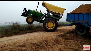 johndeere tractor full lodid troli m खतरनाक मोड केसे चढाया होगा  troli ko देखो
