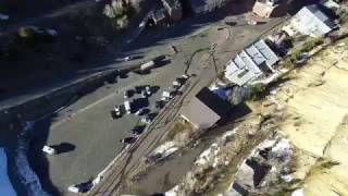 Blackhawk to Central City historic Railroad bed. Drone flight in the Rocky Mountains.