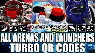 ALL TURBO ARENAS + PRECISION LAUNCHER QR CODES + COLLAB C/ ZANKYE! BEYBLADE BURST APP TURBO QR CODES
