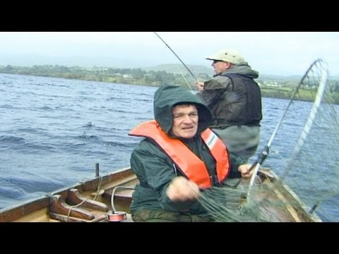 A Big Salmon Is Being Hooked On Lough Eske, County Donegal, Ireland.