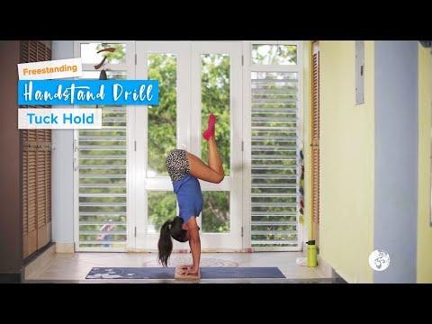 Freestanding Tuck Hold | YogaSlackers | 12 Days of Handstands