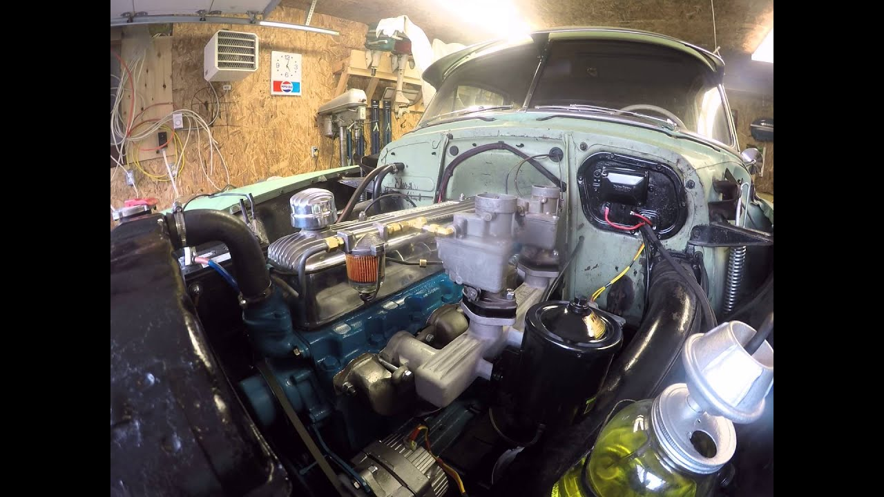 1954 chevy 235 dual carb split manifold exhaust First Start Up  YouTube