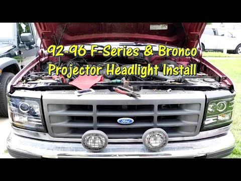 92 - 96 F-Series & Bronco EBay Projector Headlight Install By @GettinJunkDone