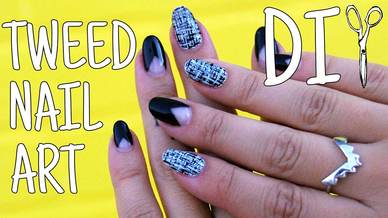 Diywhynot Diy Tweed Nail Art And V French Tips Youtube