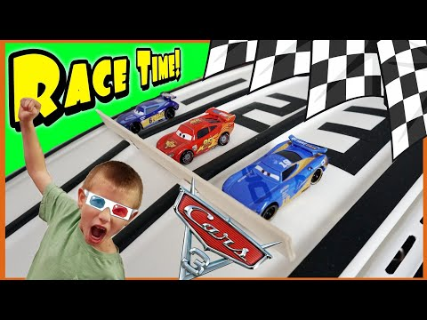Disney Cars 3 Diecast Downhill Race on our Custom 3 Lane Raceway! Disney Cars 3 Toys & Racetrack!