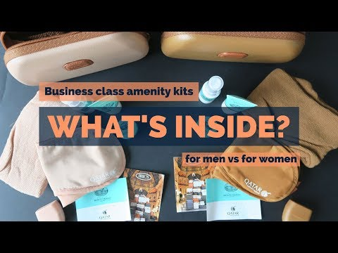 What's inside Qatar Airways Business Class amenity kits? for men vs for women