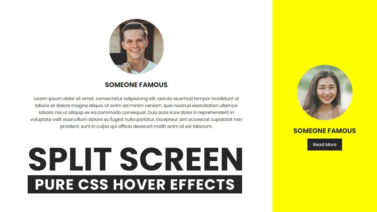 Split Screen Landing Page with CSS Flex | Html CSS Hover Effects