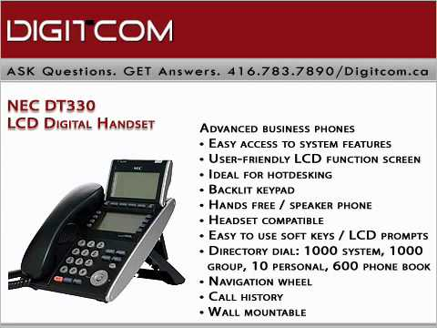 NEC DT330 LCD Digital Handset Digitcomca (Business Phone Systems - business phone book