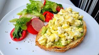 Завтрак № 9 с АВОКАДО. Завтраки рецепты. Завтрак из яиц. Завтраки. Завтрак. Болтунья из яиц