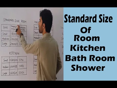 Standard size of Room , Kitchen , Bath Room & shower etc