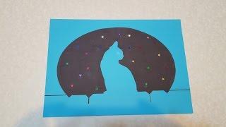 Кошка ночью Аппликация из цветной бумаги с шаблоном для скачивания