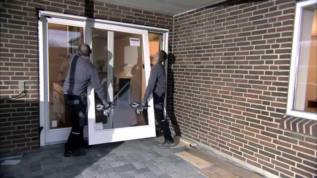 How to mount a sliding patio door  YouTube