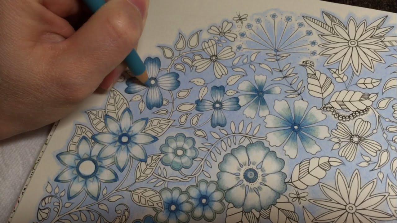 Secret Garden Blue Vintage Flowers Coloring Part 44