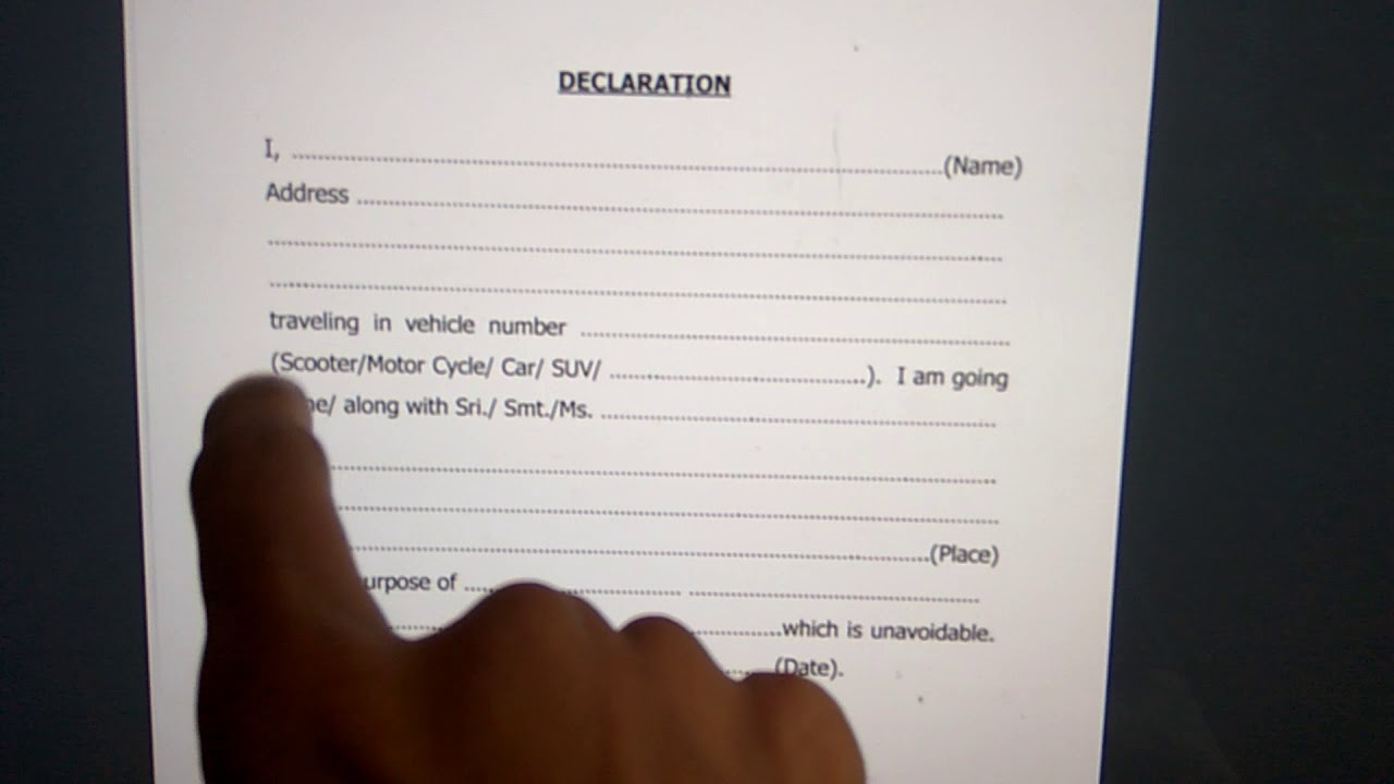 Self Declaration Form Lock Down Travel Youtube
